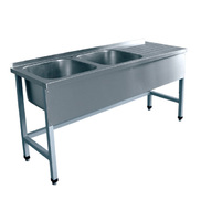 Стол для мойки овощей СМО-7-7 РЧ, мойка-мойка-стол, каркас крашен.